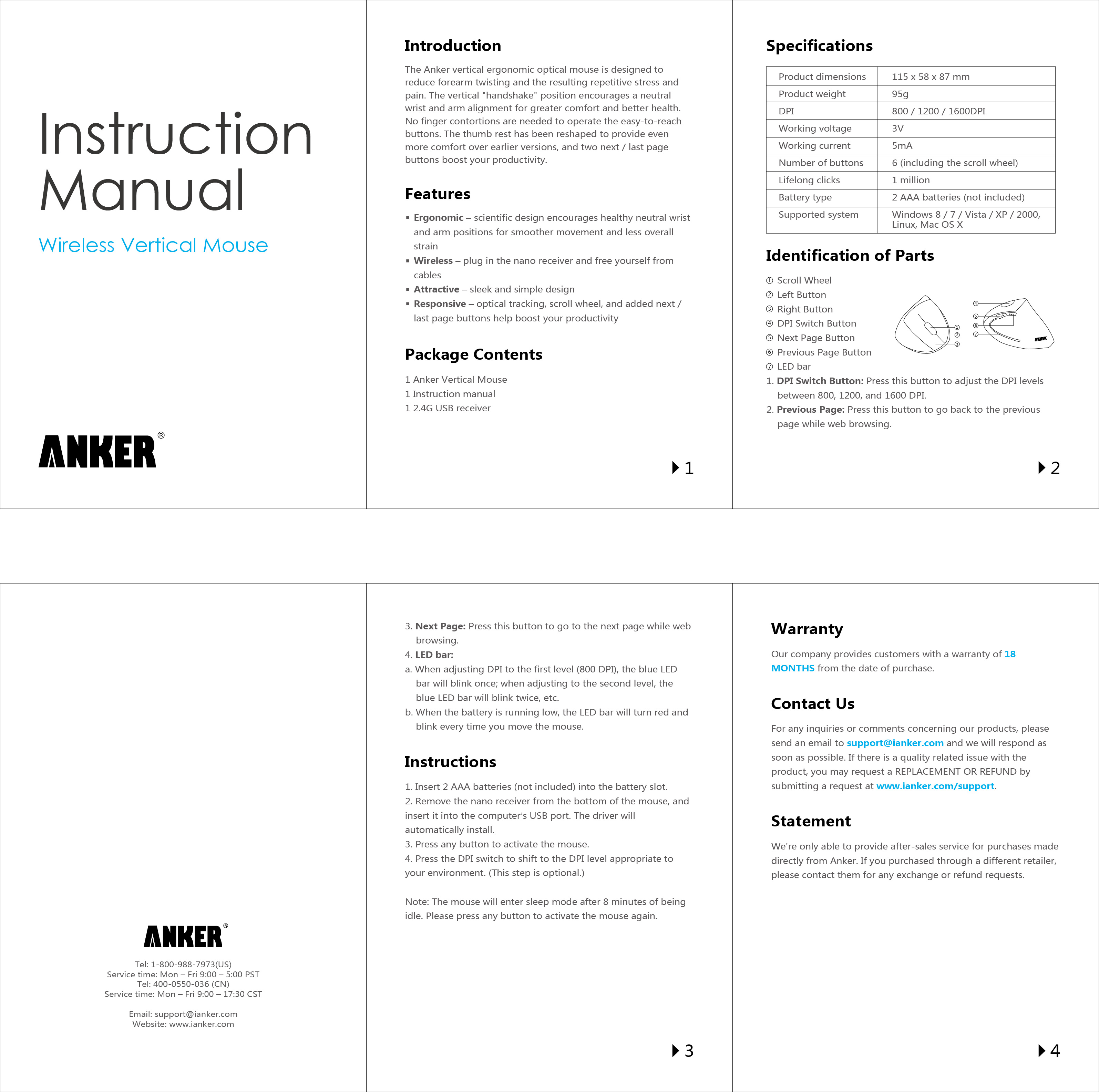 Anker 24g Wireless Vertical Ergonomic Mouse Control Single Station Download This Document Instruction Manual