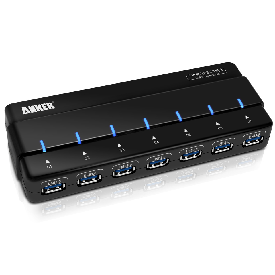 Anker 7 Port Hub With 36w Power Adapter Usb 3 0