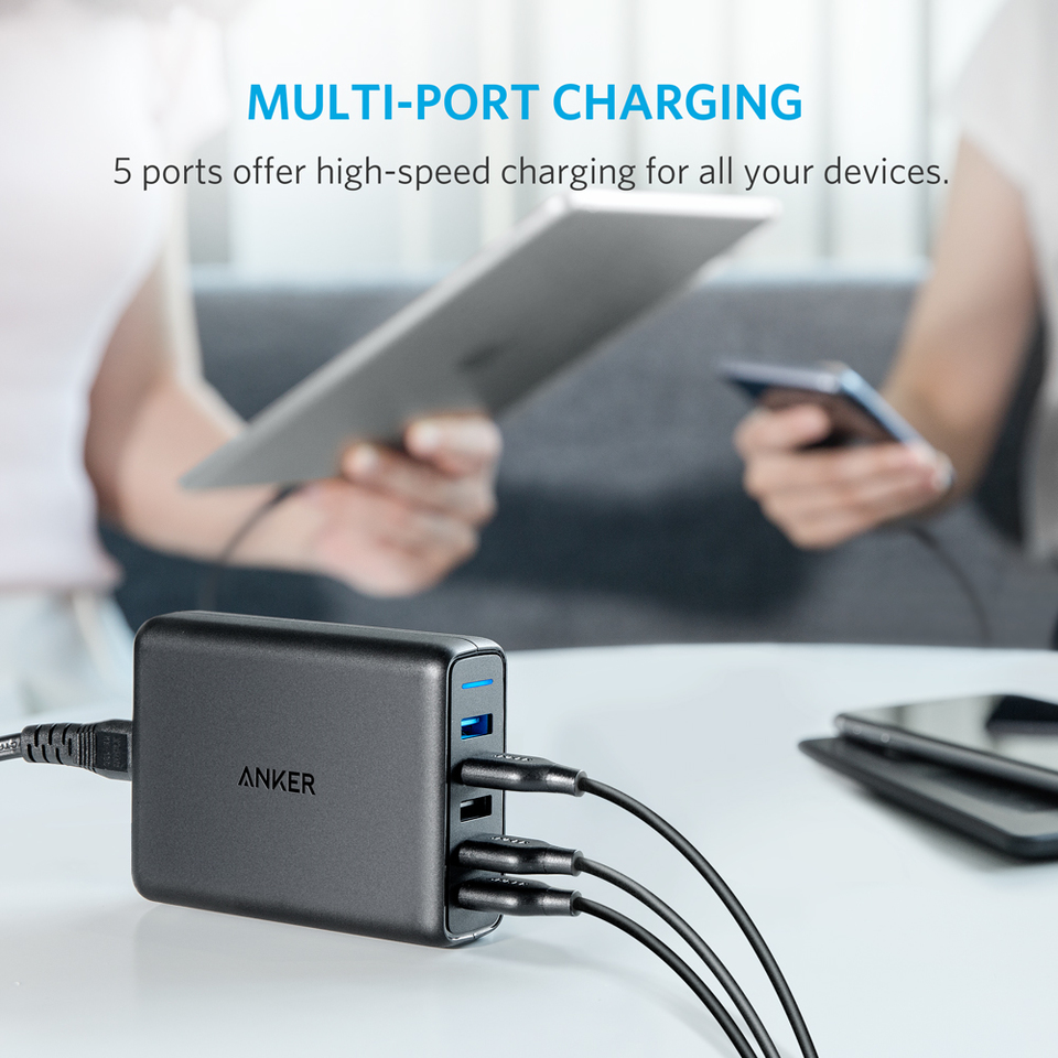 Anker Powerport Speed 5 Ports Nexus 4 Circuit Diagram Quick Charge 30 63w Port Usb Wall Charger For Galaxy S7 S6 Edge Plus Note And Poweriq Iphone 7 6s Ipad Pro Air 2 Mini