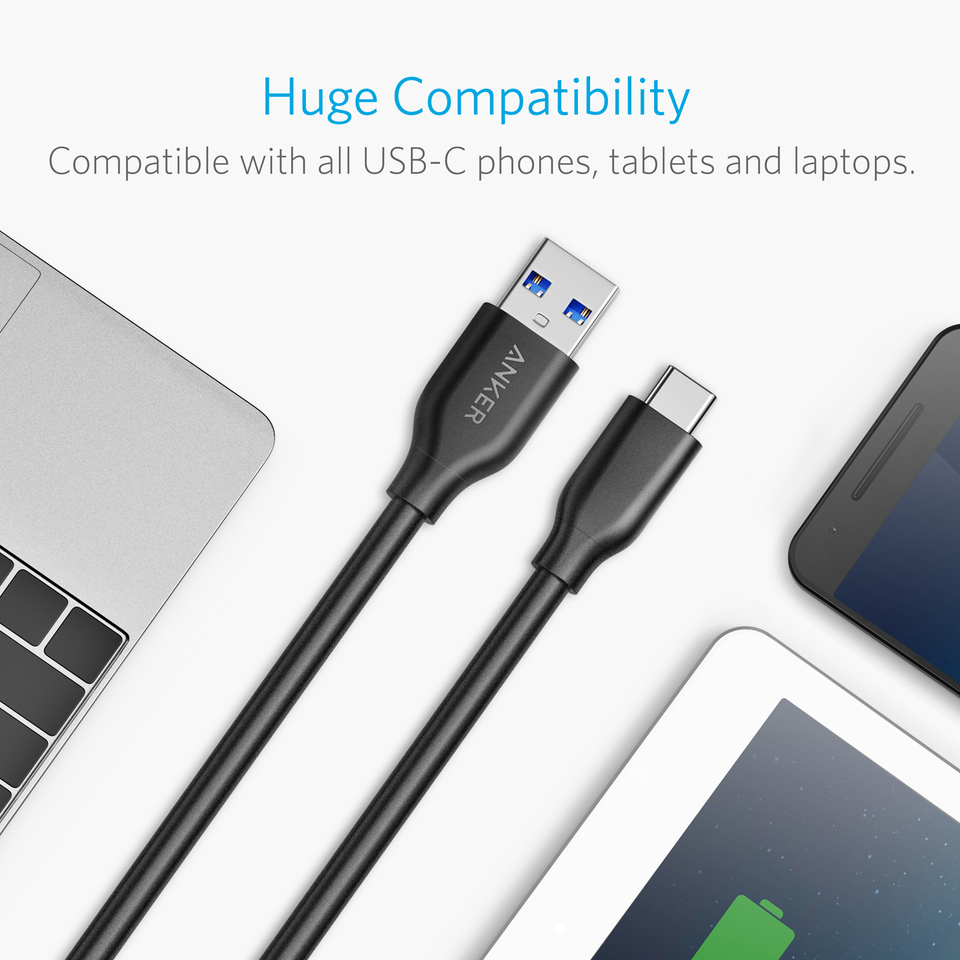 Anker Powerline USB-C to USB 3.0 Cable Sony XZ iPad Pro 2018 S8+ with 56k Ohm Pull-up Resistor for Galaxy S8 Xiaomi 5 and More MacBook S9 HTC 10 LG V20 G5 G6 10ft