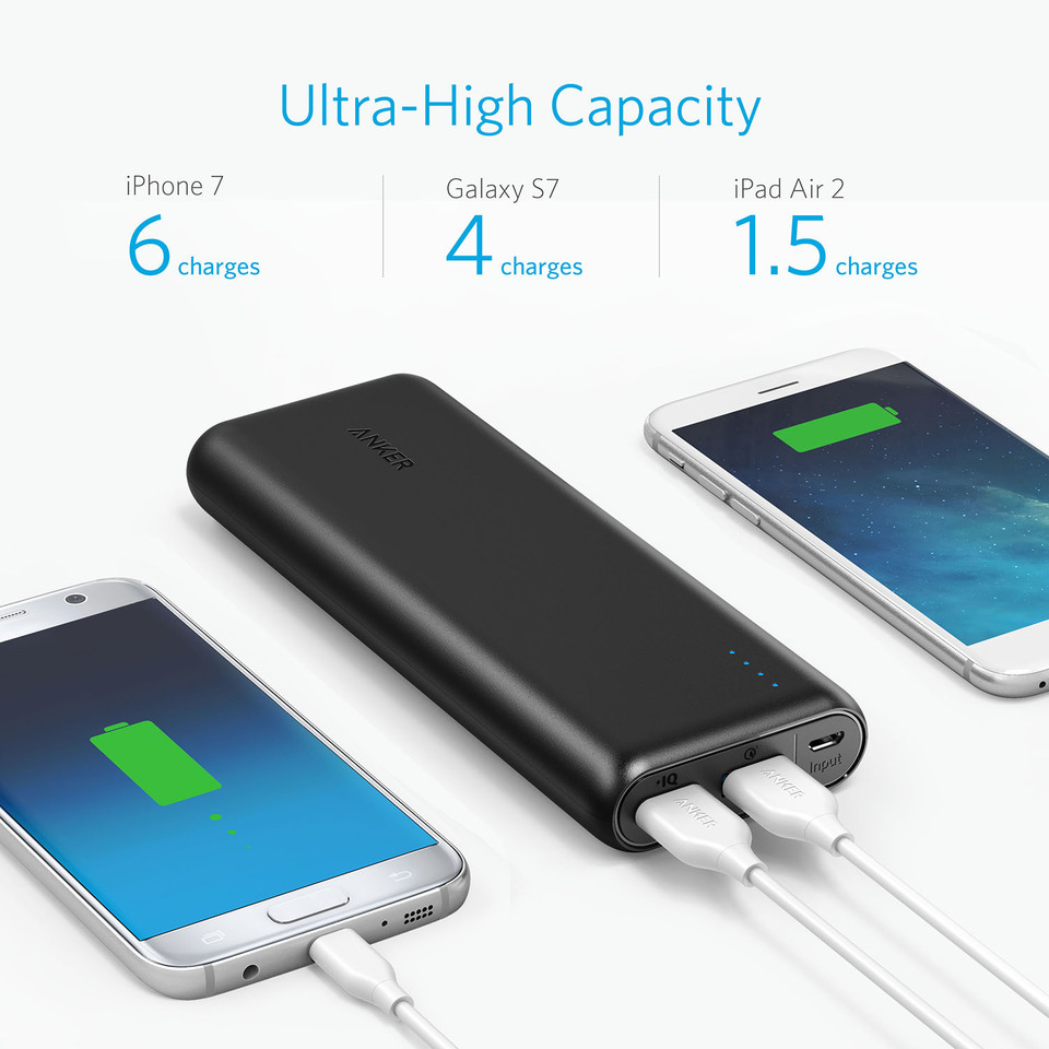 Power Bank for Samsung with Quick Charge Recharging 20000mAh Qualcomm Quick Charge 3.0 /& PowerIQ Portable Charger iPad and More iPhone Anker PowerCore Speed 20000