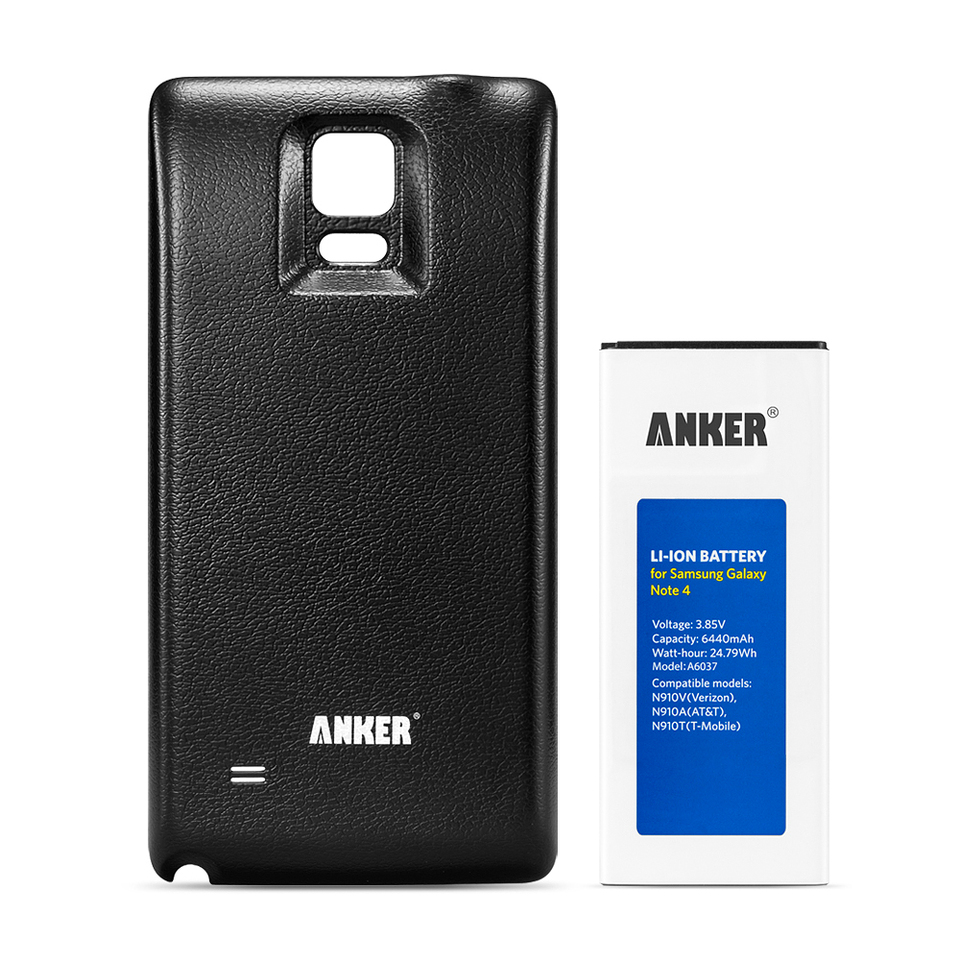 anker samsung galaxy note 4 6440mah li ion battery. Black Bedroom Furniture Sets. Home Design Ideas