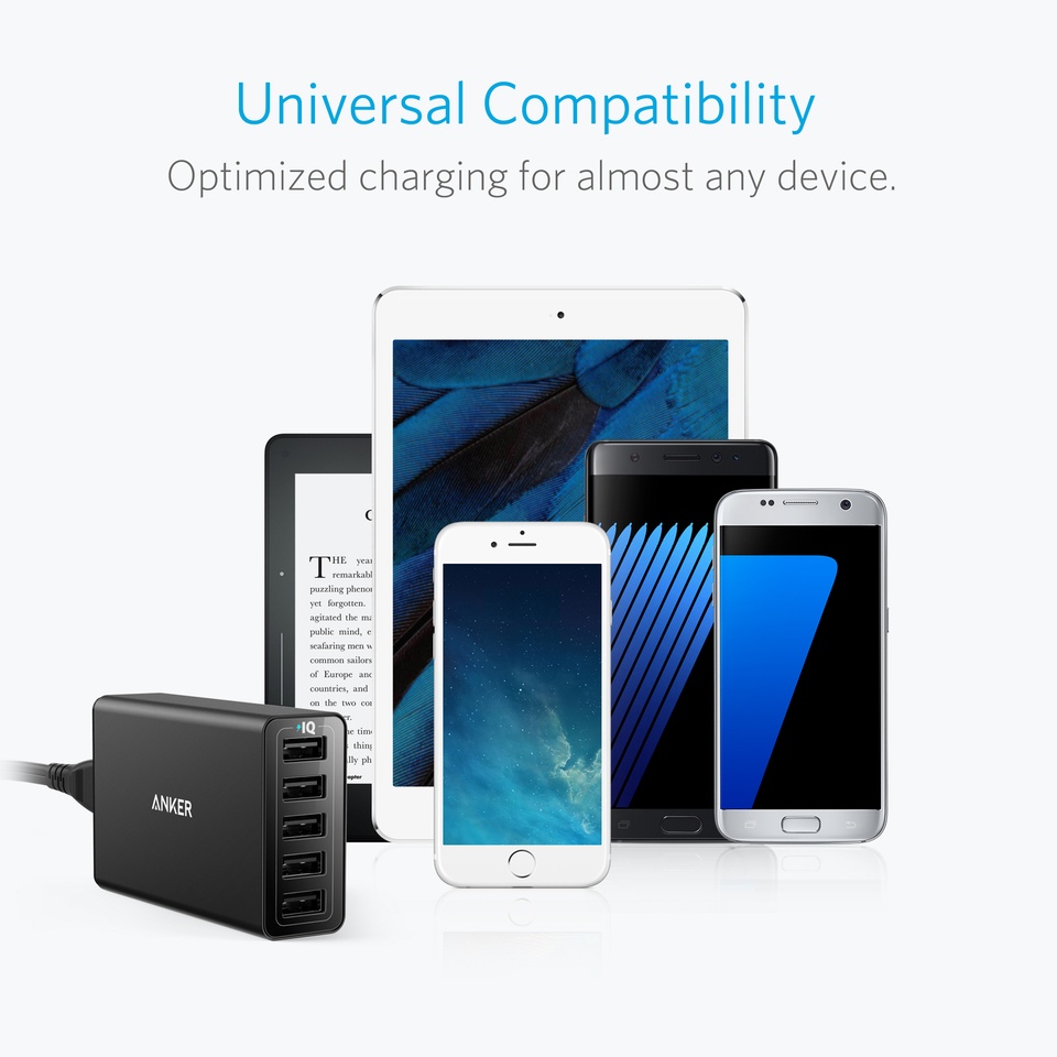 Anker Powerport 5 Cell Phone Emergency Charger Pack Circuit Diagram Centre 40w 8a Port Usb For Iphone 6 Plus Ipad Air 2 Mini 3 Samsung Galaxy S6 Edge And More