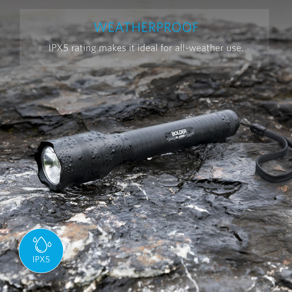 Anker Bolder Lc90 2 Cell Rechargeable Flashlight Single Led Ip65 Water Resistant Zoomable Torch For Camping And Hiking With Super Bright 900 Lumens Cree 5 Light Modes