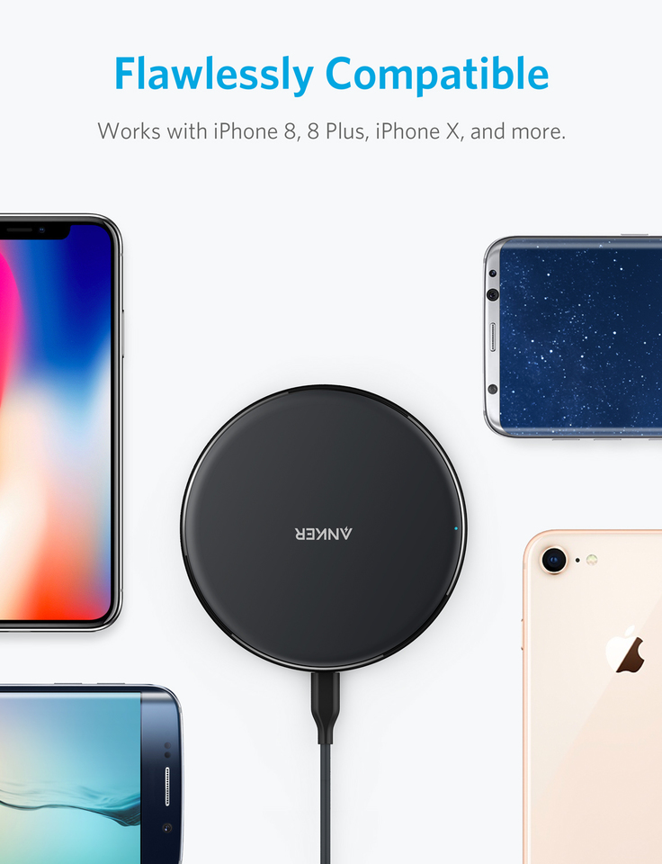 No AC Adapter Qi-Certified Ultra-Slim Wireless Charger Compatible iPhone Xs Max//XS//XR//X//8//8 Plus Galaxy S9//S9+//S8//S8+//Note 8 and More Anker Wireless Charger PowerPort Wireless 5 Pad