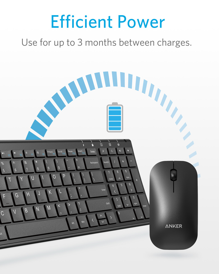Anker   Anker 2 4GHz Wireless Keyboard and Mouse Combo