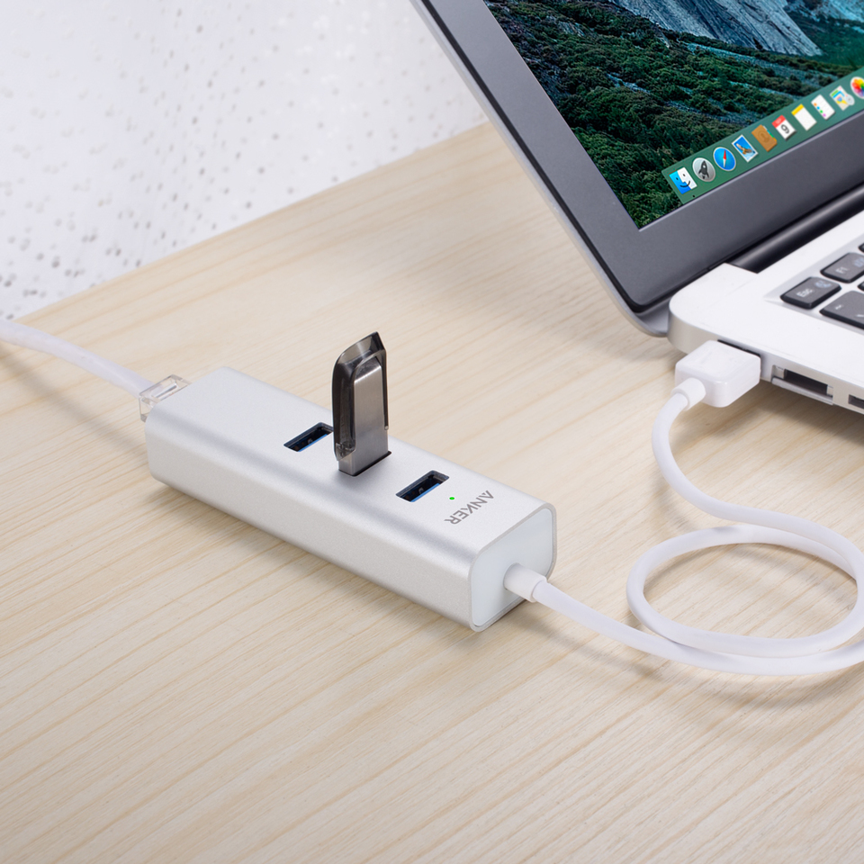 40cm USB 3.0 Cable Anker Unibody 3-Port USB 3.0 and Ethernet Hub with 1.3ft