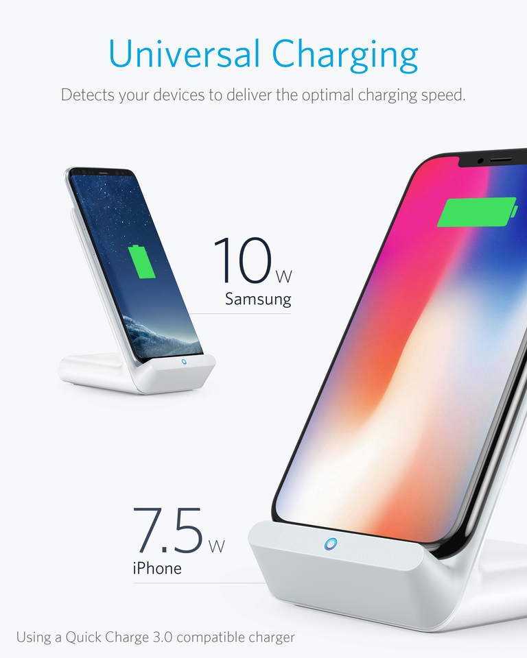 Anker PowerWave 7.5 Fast Wireless Charging Pad with Internal Cooling Fan 10W Charges Galaxy S9//S9+//S8//S8+ with Quick Charge Adapter Qi-Certified 7.5W Compatible iPhone Xs Max//XR//XS//X//8//8 Plus