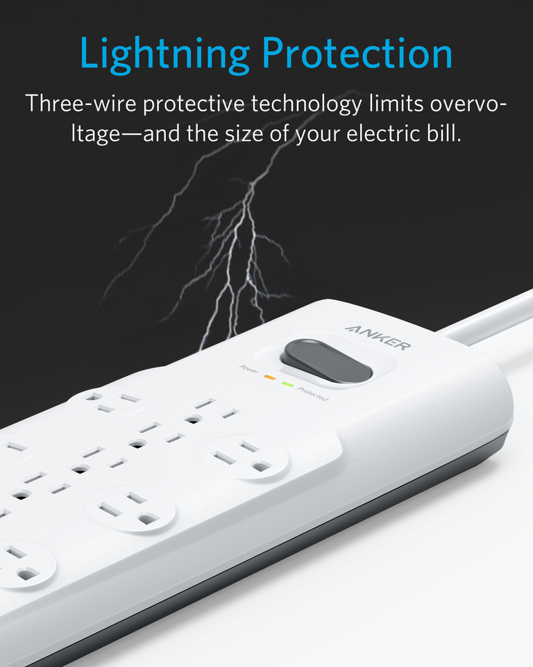 Anker PowerPort Power Strip 12 Outlets /& 3 USB Ports Surge Protector