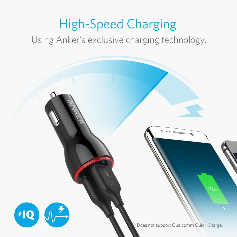 Anker 24W 4.8A Car Charger iPad Pro//Air//Mini LG Nexus Galaxy Note//S Series 2-Port Ultra-Compact PowerDrive 2 Elite with PowerIQ Technology and LED for iPhone XS//Max//XR//X//8//7//6//Plus HTC and More AK-A2212012
