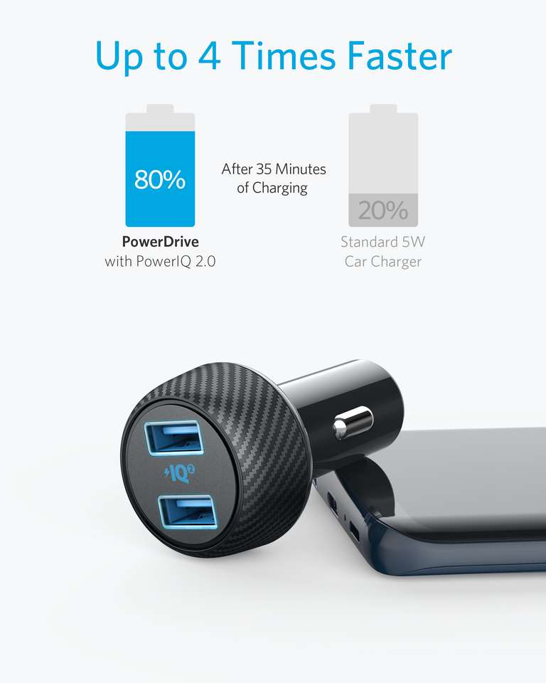 iPhone Xs//Max//XR//X//8 Car Charger Compatible with Quick Charge Devices Renewed PowerDrive Speed 2 with PowerIQ 2.0 for Galaxy S8//Edge//Note Anker 30W Dual USB Car Charger iPad Pro//Air 2//Mini