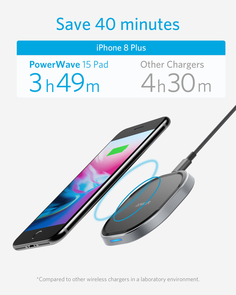 Anker   Anker Wireless Charger with USB-C, 15W Metal Fast Wireless