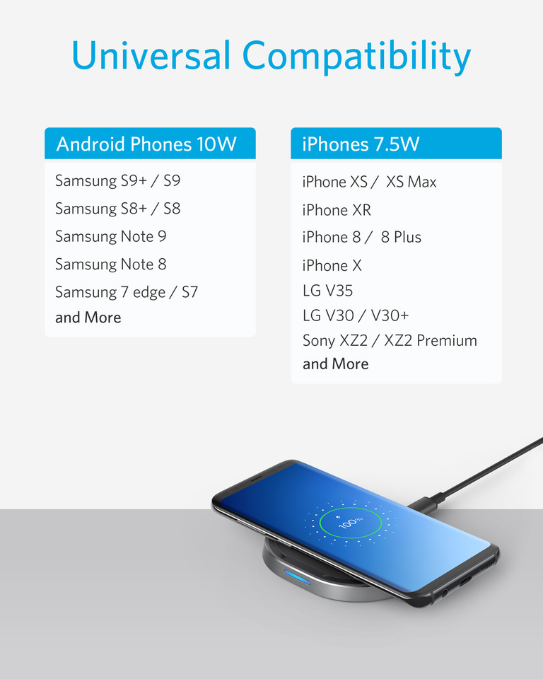 Black Galaxy Note 9 S9 Plus Wireless Phone Charger Pad 10W Qi Wireless Fast Charging Station with USB Port 2 in 1 Phones Desktop Charging Compatible with iPhone Xs MAX XR X 8 Plus All Qi-Enabled