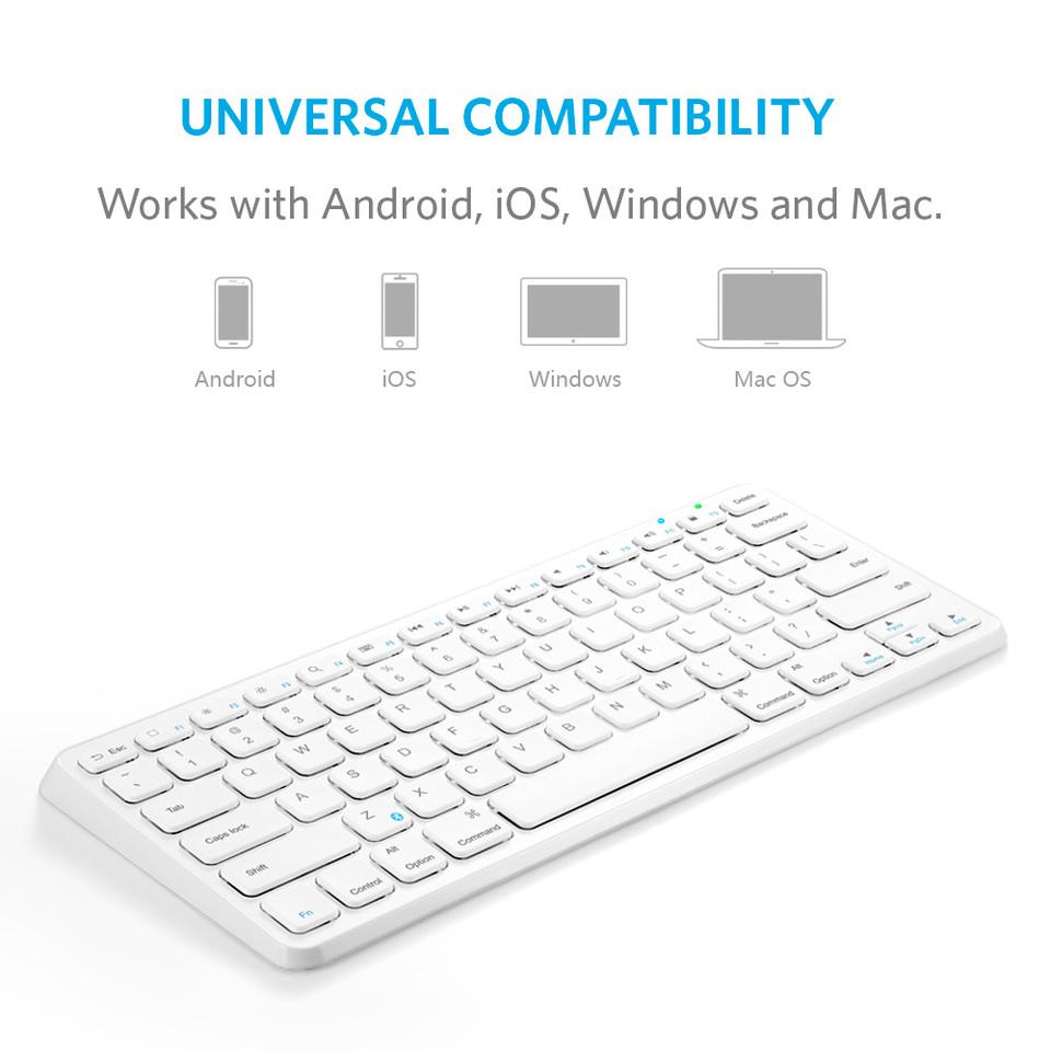 Ultra Compact Slim Profile Wireless Bluetooth Keyboard