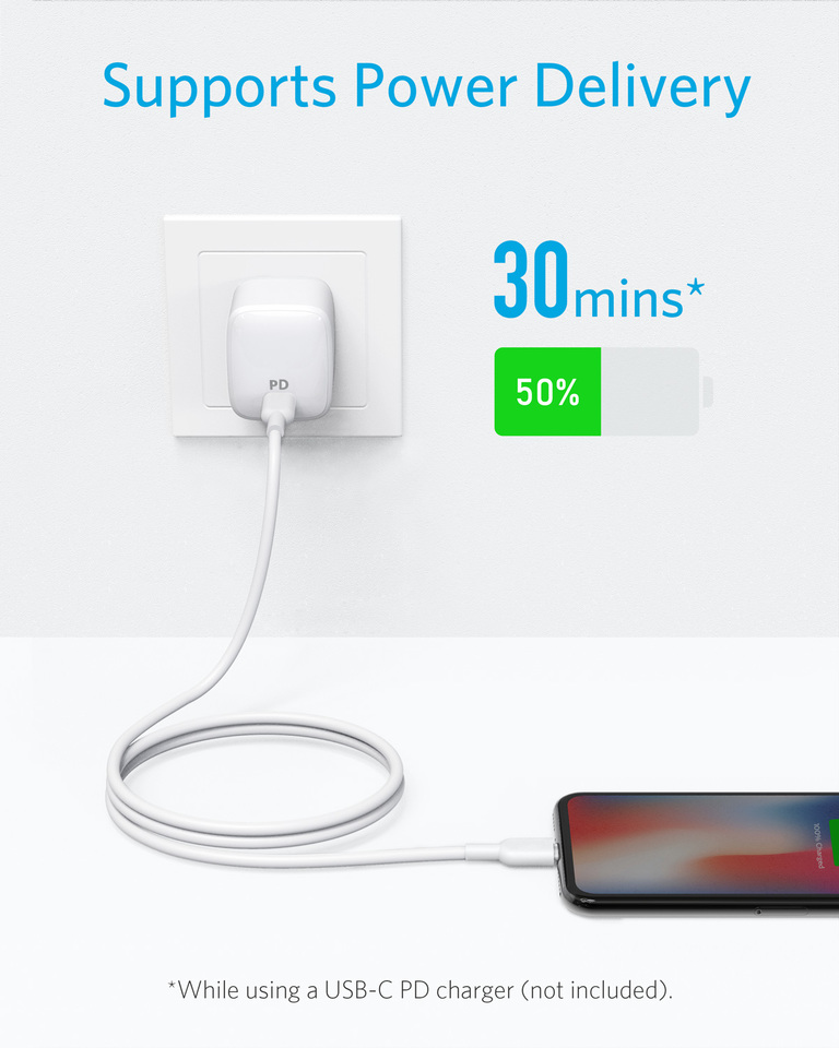 Powerline II for iPhone X//XS//XR//XS Max // 8//8 Plus Anker USB C to Lightning Cable Supports Power Delivery for Use with Type C Chargers 3ft Apple MFi Certified