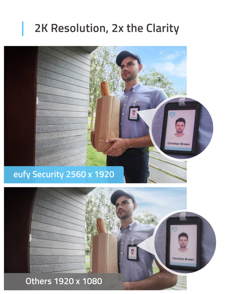 eufy Security Wi-Fi Video Doorbell 2K Resolution Real-Time Response No Monthl...