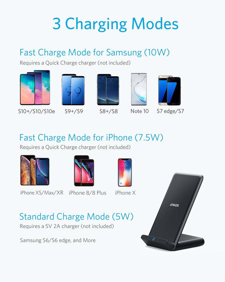Wireless Charger with Night Light Bluetooth Speaker 7.5W for iPhone 11//11 Pro//11 Pro Max//XS Max//XS//XR//X and Other Qi-Enabled Phones Qi Fast Wireless Charging Pad 10W for Samsung Note10//9//S10//S9+//S9