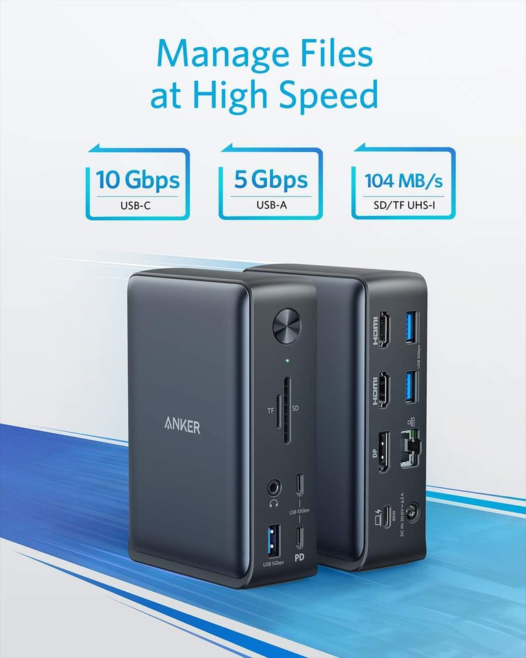 1Gbps Ethernet USB-C Gen 2 85W Charging for Laptop PowerExpand 13-in-1 USB-C Dock for USB-C Laptops Anker Docking Station 4K HDMI SD 3.0 Audio 18W Charging for Phone USB-A Gen 1