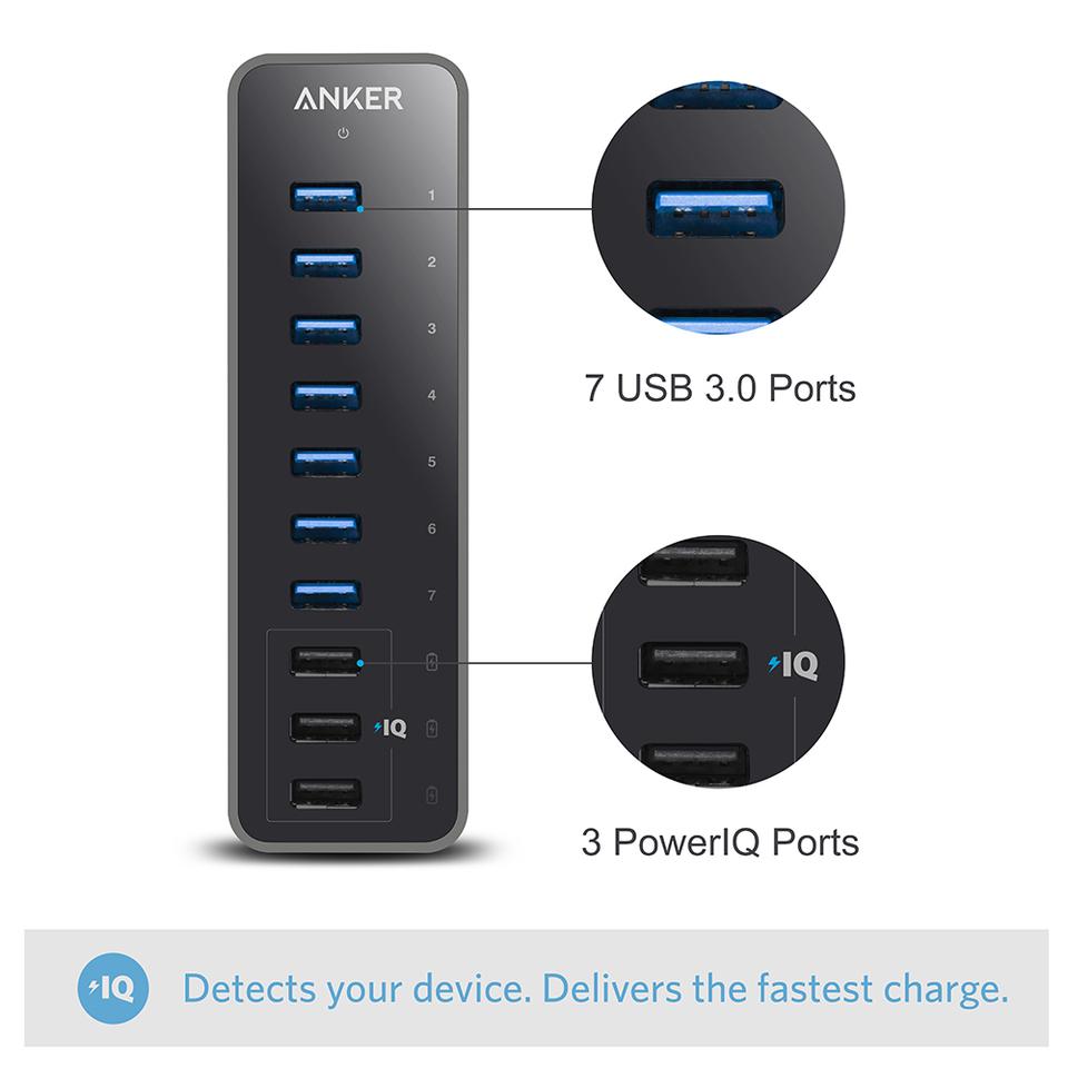 USB 3.0 Ports Anker 10 Port 60W Data Hub 3 PowerIQ Charging Ports