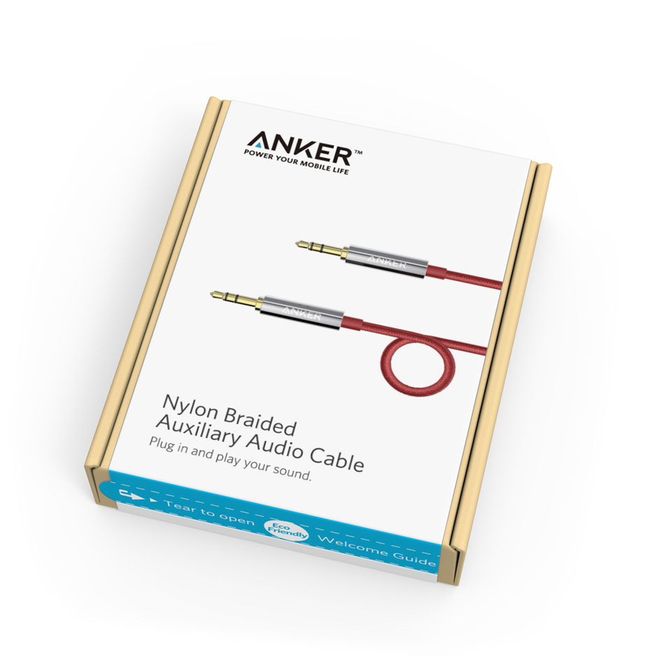 Anker Auxiliary Audio Cable Nokia Cark 91 Using Ca55 Converter Installation Diagram 35mm Nylon Braided 4ft 12m Tangle Free Aux For Headphones Ipods Iphones Ipads Home Car Stereos And More
